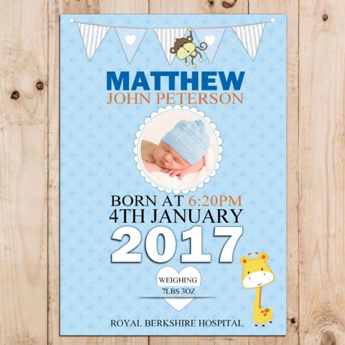 Personalised Boys Blue Birth Announcement Poster Banner Print N60